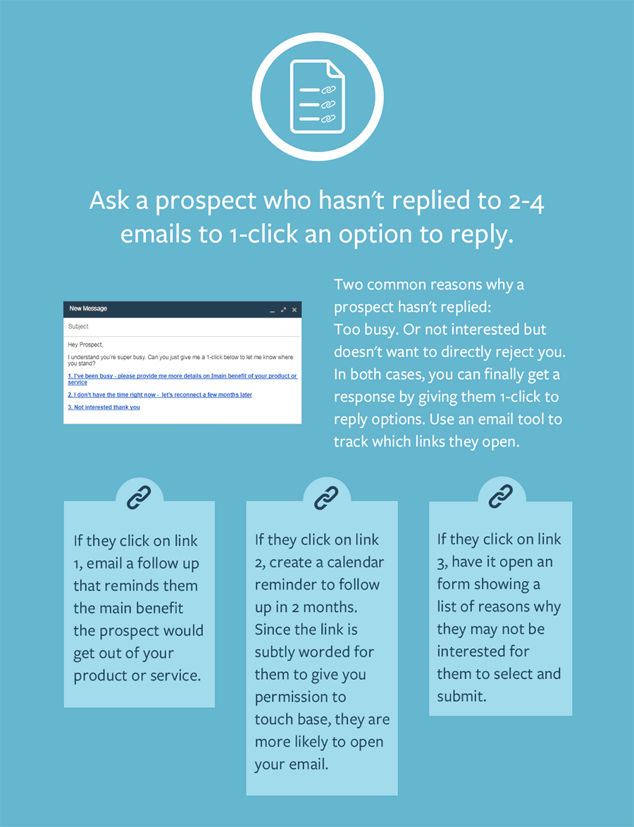 Get nonresponsive prospects to finally reply by letting them 1-click a link directly in the email