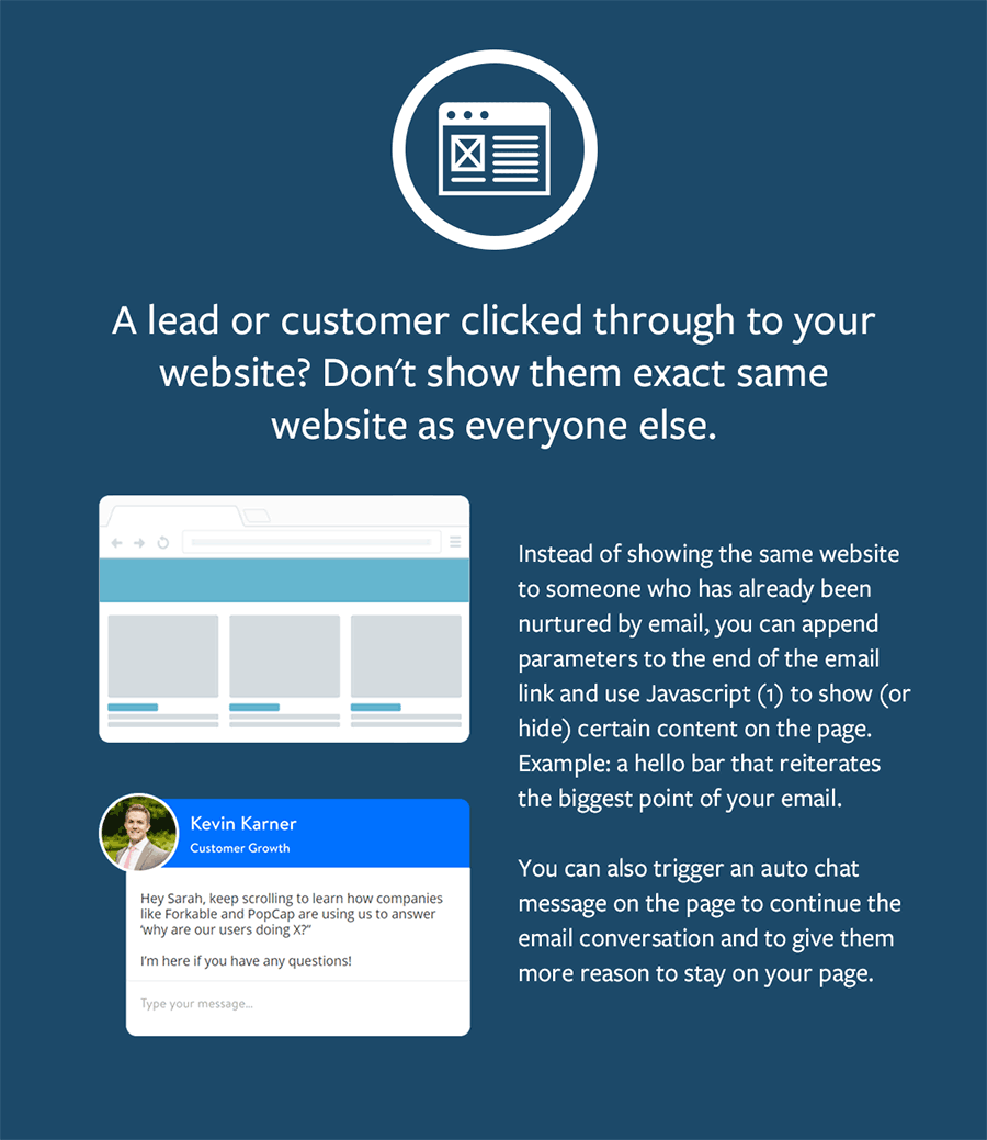 Show different version of your website to pick up where the conversation left off