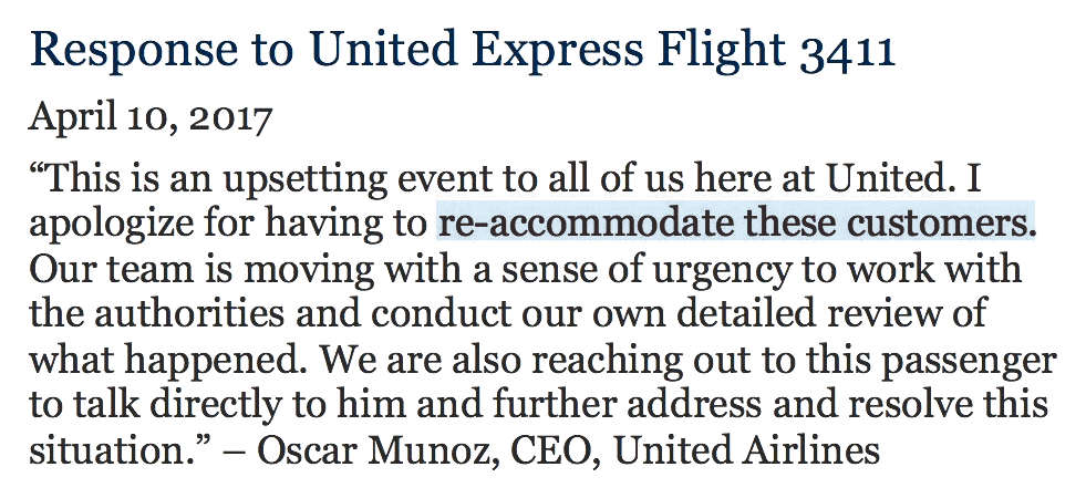 United Airlines CEO re-accommodating 'apology' for dragging passenger